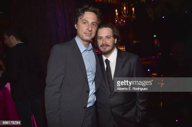 Actor Zach Braff and director Edgar Wright attend the after party for the premiere of Sony Pictures' 'Baby Driver' on June 14 2017 in Los Angeles...