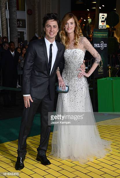 Actor Zach Braff and model Taylor Bagley arrive for the world premiere of Walt Disney Pictures' Oz The Great And Powerful at the El Capitan Theatre...