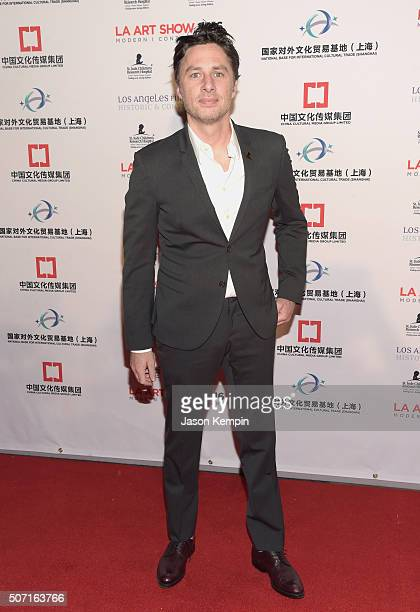 Actor Zach Braff attends the LA Art Show and Los Angeles Fine Art Show's 2016 opening night premiere party benefiting St Jude Children's Research...