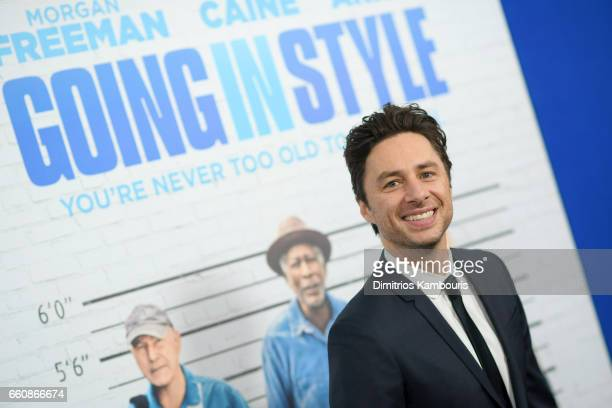Actor Zach Braff attends the 'Going In Style' New York Premiere at SVA Theatre on March 30 2017 in New York City