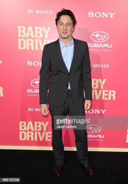 Actor Zach Braff attends the premiere of 'Baby Driver' at Ace Hotel on June 14 2017 in Los Angeles California