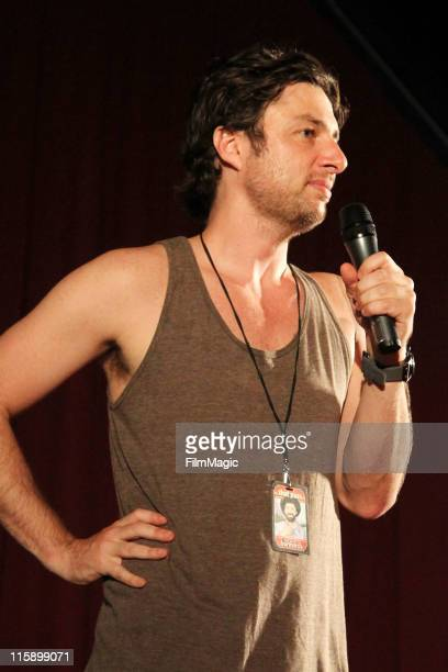 Actor Zach Braff performs on stage at The Bonnaroo Cinema during 2011 Bonnaroo on June 11 2011 in Manchester Tennessee