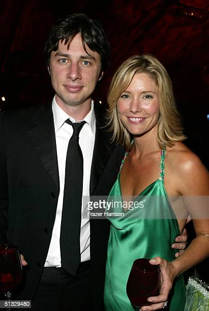 Actor Zach Braff poses with actress Tava Smiley at HBO?S post Emmy party following the 56th annual Primetime Emmy Awards held at the Pacific Design...