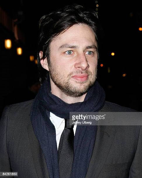 Actor Zach Braff visits Late Show with David Letterman at the Ed Sullivan Theater on January 12 2009 in New York City