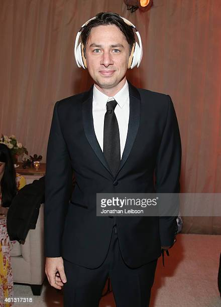 Actor Zach Braff wearing Samsung Level headphones attends the 8th Annual HEAVEN Gala presented by Art of Elysium and Samsung Galaxy at Hangar 8 on...