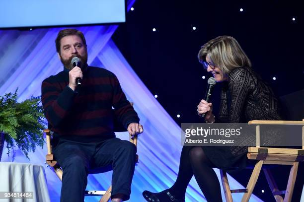 Actor Zach Galifianakis and Dr Karen Lamp attend the Venice Family Clinic's 36th Annual Silver Circle Gal at The Beverly Hilton Hotel on March 19...