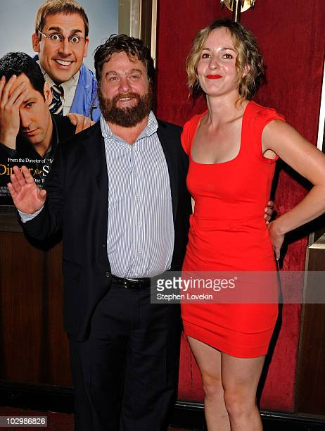 Actor Zach Galifianakis and Quinn Lundberg attend the 'Dinner For Schmucks' premiere at the Ziegfeld Theatre on July 19 2010 in New York City