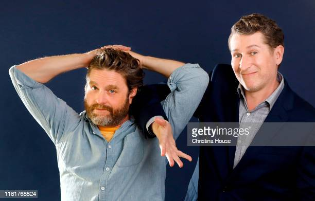 Actor Zach Galifianakis and writer Scott Aukerman are photographed for Los Angeles Times on September 16 2019 in Beverly Hills California PUBLISHED...