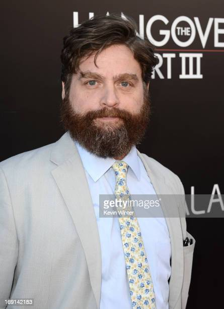 Actor Zach Galifianakis arrives at the premiere of Warner Bros Pictures' 'Hangover Part 3' on May 20 2013 in Westwood California