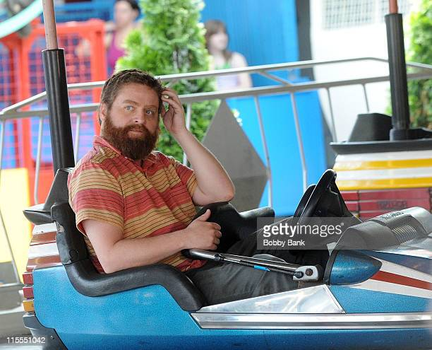 Actor Zach Galifianakis at the bumper cars filming a promo on location for Bored To Death on June 7 2011 in the Brooklyn borough of New York City