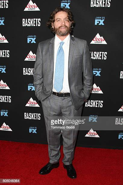 Actor Zach Galifianakis attends the FX's 'Baskets' red carpet premiere held at Pacific Design Center on January 14 2016 in West Hollywood California