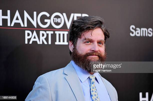 Actor Zach Galifianakis attends the premiere of Warner Bros Pictures' 'Hangover Part 3' at Westwood Village Theater on May 20 2013 in Westwood...