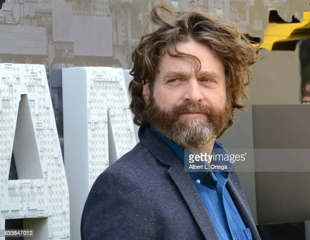 Actor Zach Galifinakis arrives for the Premiere Of Warner Bros Pictures' The LEGO Batman Movie held at Regency Village Theatre on February 4 2017 in...