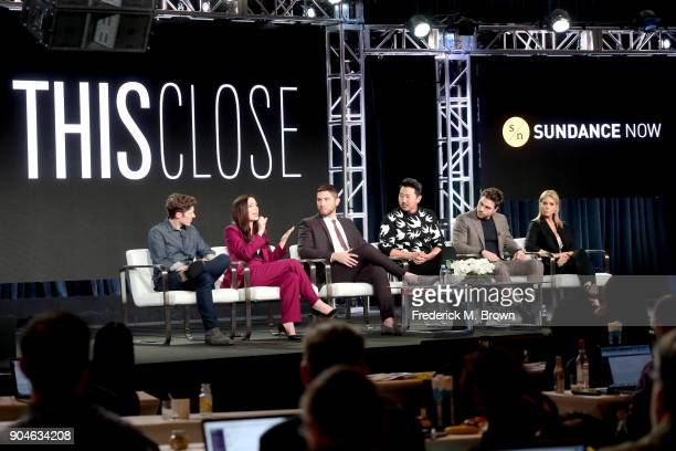 Actor Zach Gilford cocreators/writers/actors Shoshannah Stern and Josh Feldman and actors Andrew Ahn Colt Prattes and Cheryl Hines of 'This Close'...