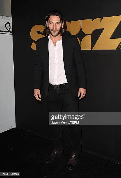 Actor Zach McGowan attends the STARZ PreGolden Globe Celebration at Chateau Marmont on January 8 2016 in Los Angeles California