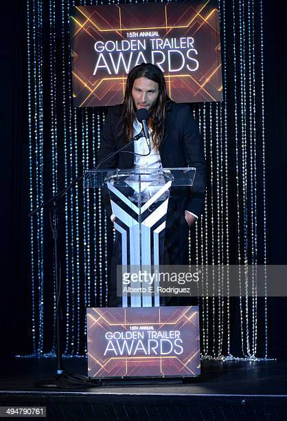 Actor Zach McGowan speaks onstage at the 15th Annual Golden Trailer Awards at Saban Theatre on May 30 2014 in Beverly Hills California