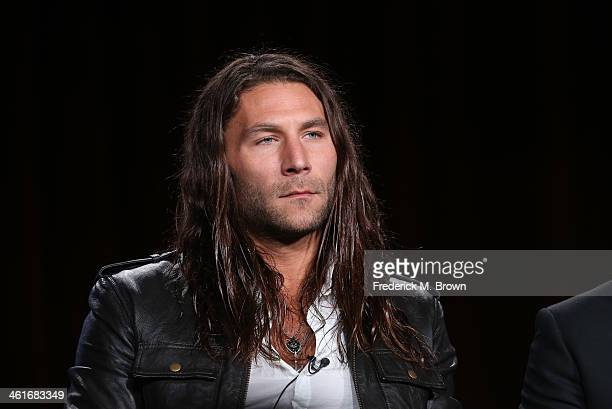 Actor Zach McGowan speaks onstage during the 'Black Sails' panel discussion at the Starz portion of the 2014 Winter Television Critics Association...