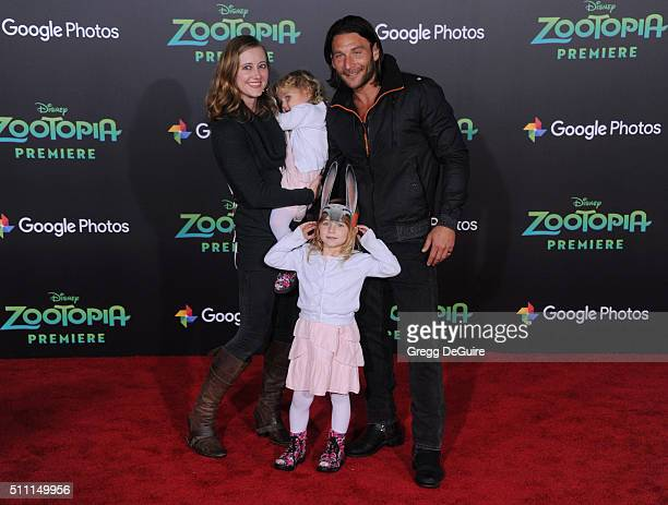 Actor Zach McGowan wife Emily Johnson and children arrive at the premiere of Walt Disney Animation Studios' 'Zootopia' at the El Capitan Theatre on...