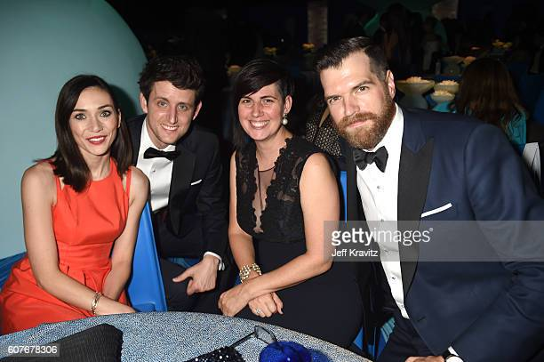 Actor Zach Woods Annie Simons actor Timothy Simons and guest attend HBO's Official 2016 Emmy After Party at The Plaza at the Pacific Design Center on...