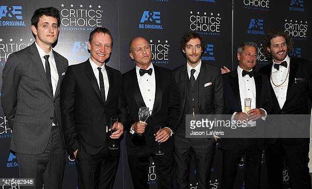 Actor Zach Woods producer Alec Berg writerproducer Mike Judge actor Thomas Middleditch producer Michael Rotenberg and actor T J Miller winners of the...