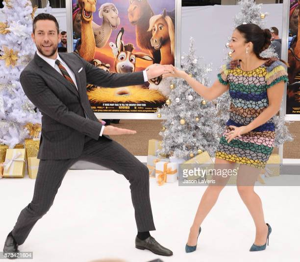 Actor Zachary Levi and actress Gina Rodriguez attend the premiere of 'The Star' at Regency Village Theatre on November 12 2017 in Westwood California