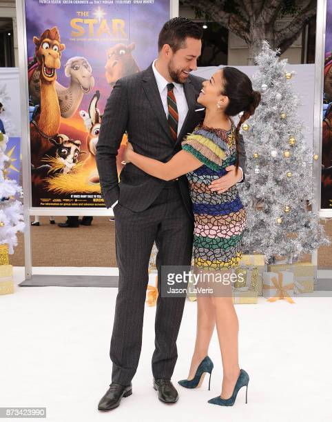 Actor Zachary Levi and actress Gina Rodriguez attend the premiere of The Star at Regency Village Theatre on November 12 2017 in Westwood California