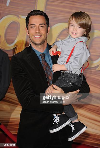 ACtor Zachary Levi and his nephew arrive at Walt Disney Pictures Presents the Premiere of 'Tangled' at the El Capitan Theatre on November 14 2010 in...