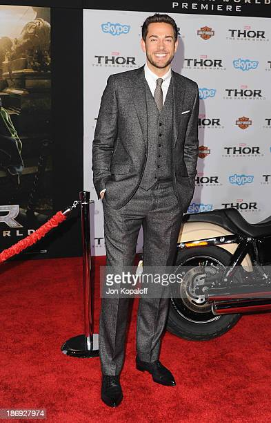 Actor Zachary Levi arrives at the Los Angeles Premiere 'Thor The Dark World' at the El Capitan Theatre on November 4 2013 in Hollywood California