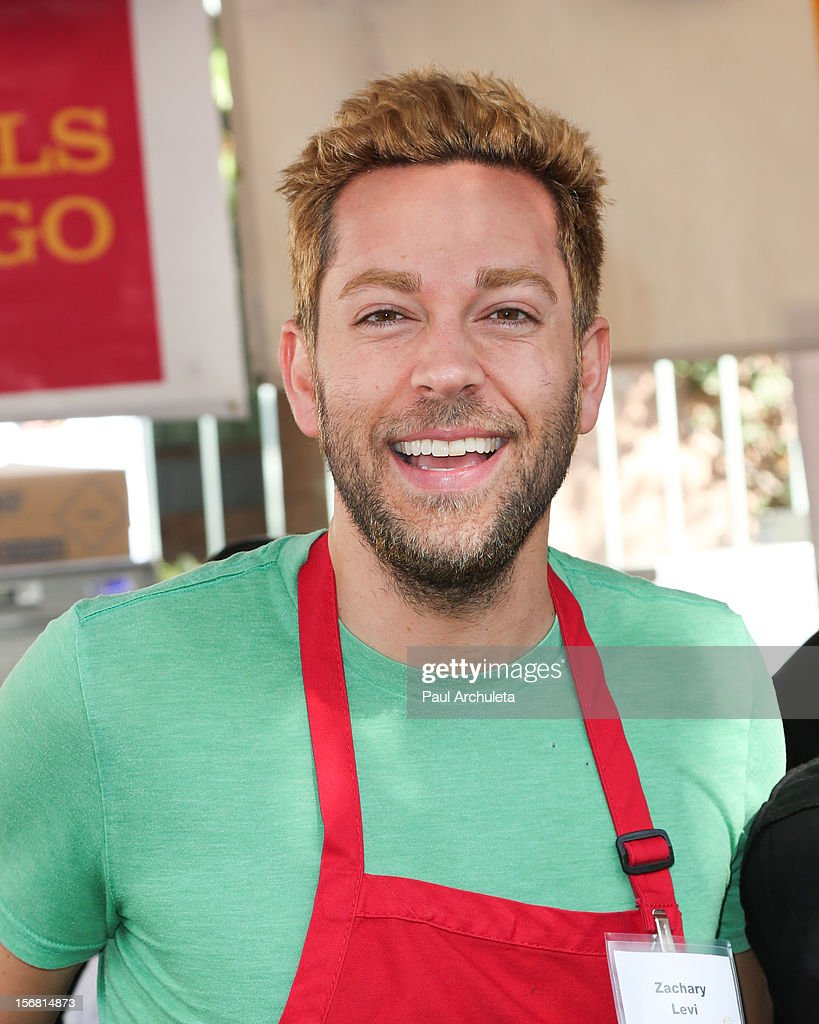 Actor Zachary Levi attends the Los Angeles Mission Thanksgiving Dinner at Los Angeles Mission on November 21, 2012 in Los Angeles, California.