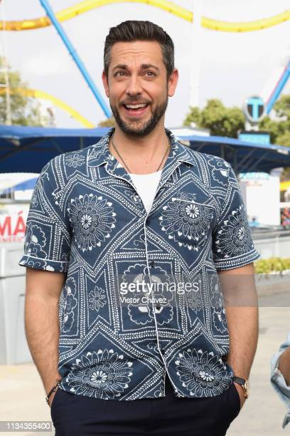 Actor Zachary Levi promotes his film Shazam at Six Flags Mexico on April 1 2019 in Mexico City Mexico