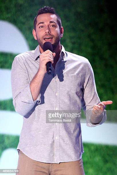 Actor Zachary Levi speaks onstage during 4th Annual Cartoon Network Hall Of Game Awards held at the Barker Hangar on February 15 2014 in Santa Monica...