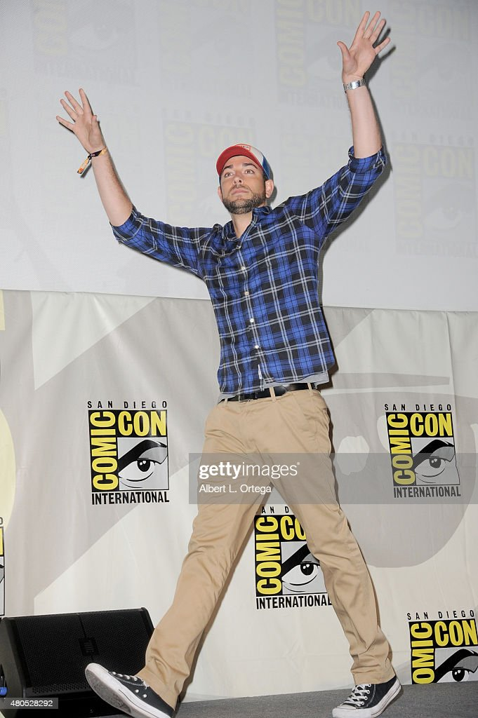 Actor Zachary Levi walks onstage at the 'Heroes Reborn' exclusive extended trailer and panel during Comic-Con International 2015 at the San Diego Convention Center on July 12, 2015 in San Diego, California.