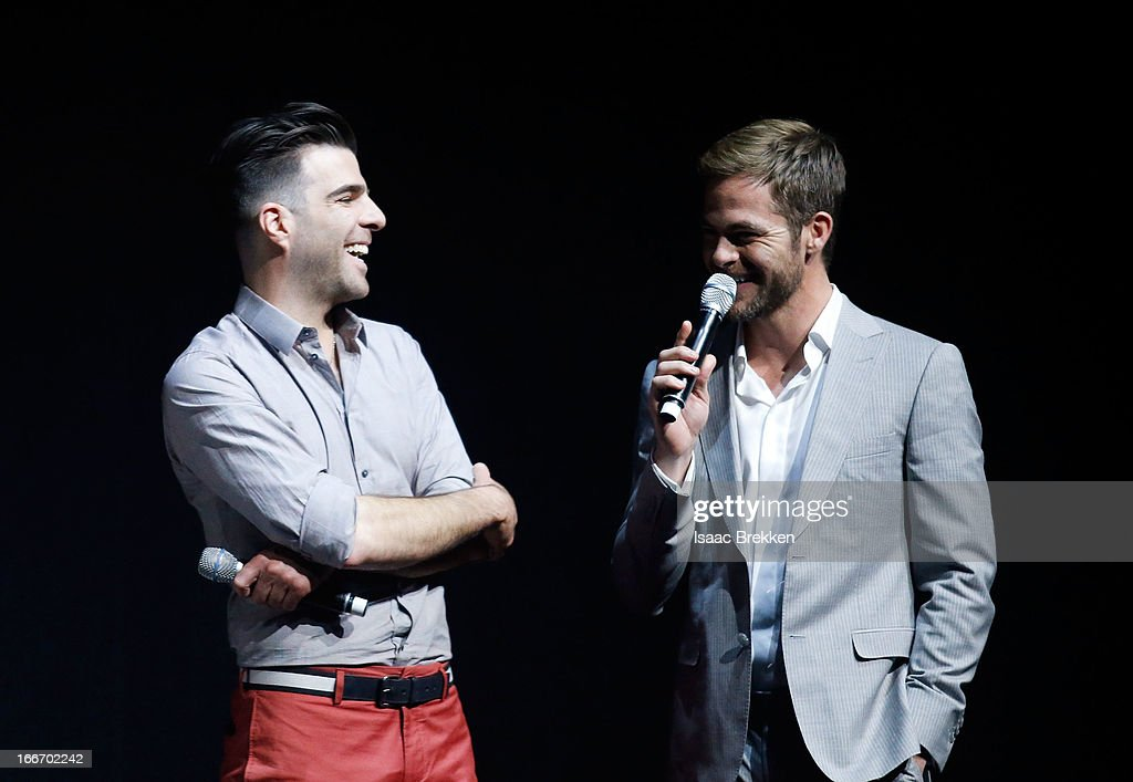 Actor Zachary Quinto (L) and actor Chris Pine speak at a Paramount Pictures presentation to promote their upcoming film, 'Star Trek Into Darkness' during CinemaCon at The Colosseum at Caesars Palace on April 15, 2013 in Las Vegas, Nevada.