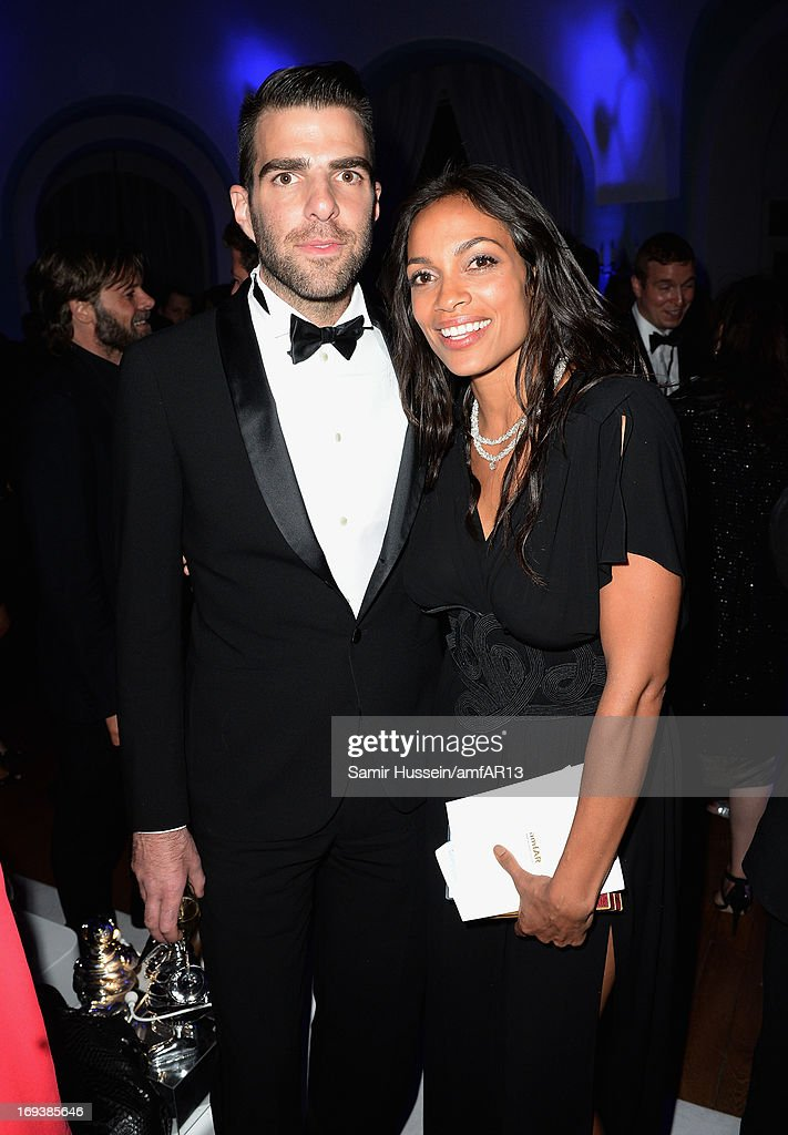 Actor Zachary Quinto and actress Rosario Dawson attend 'Moncler, The After Party To Benefit amfAR' during The 66th Annual Cannes Film Festival at Hotel du Cap-Eden-Roc on May 23, 2013 in Cap d'Antibes, France.