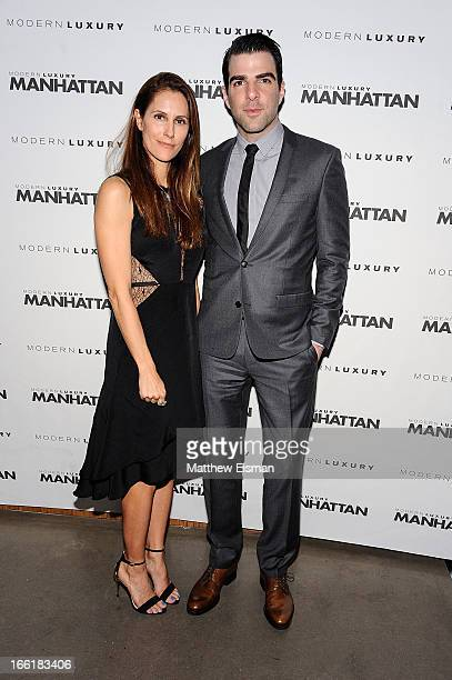 Actor Zachary Quinto and Manhattan Magazine Editor in Chief Cristina Cuomo attend the Manhattan Magazine Men's Issue Party at PHD Rooftop Lounge at...