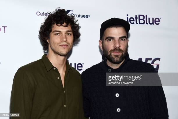 Actor Zachary Quinto and Miles McMillan arrive at Jesse Tyler Ferguson's Tie The Knot 5Year Anniversary celebration at NeueHouse Hollywood on October...