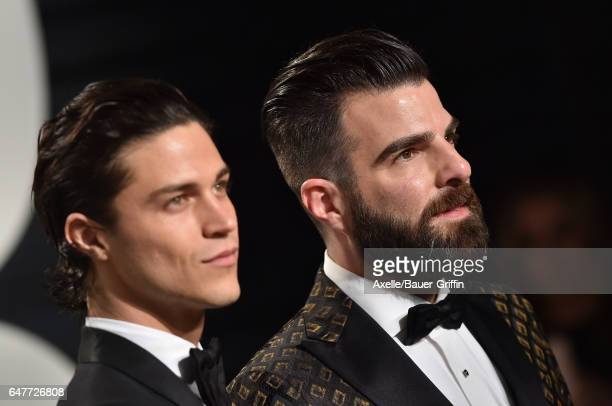 Actor Zachary Quinto and Miles McMillan arrive at the 2017 Vanity Fair Oscar Party Hosted By Graydon Carter at Wallis Annenberg Center for the...
