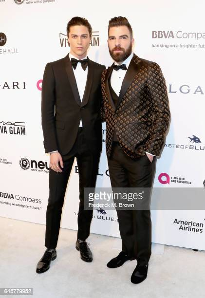 Actor Zachary Quinto and model Miles McMilan attend the 25th Annual Elton John AIDS Foundation's Academy Awards Viewing Party at The City of West...