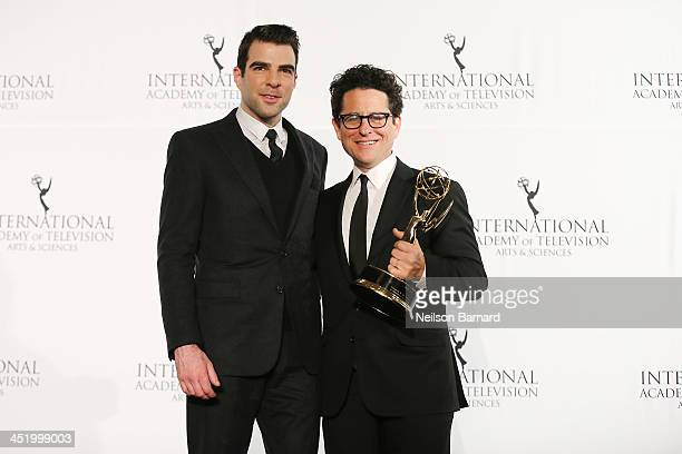 Actor Zachary Quinto and producer JJ Abrams attend the 41st International Emmy Awards at the Hilton New York on November 25 2013 in New York City