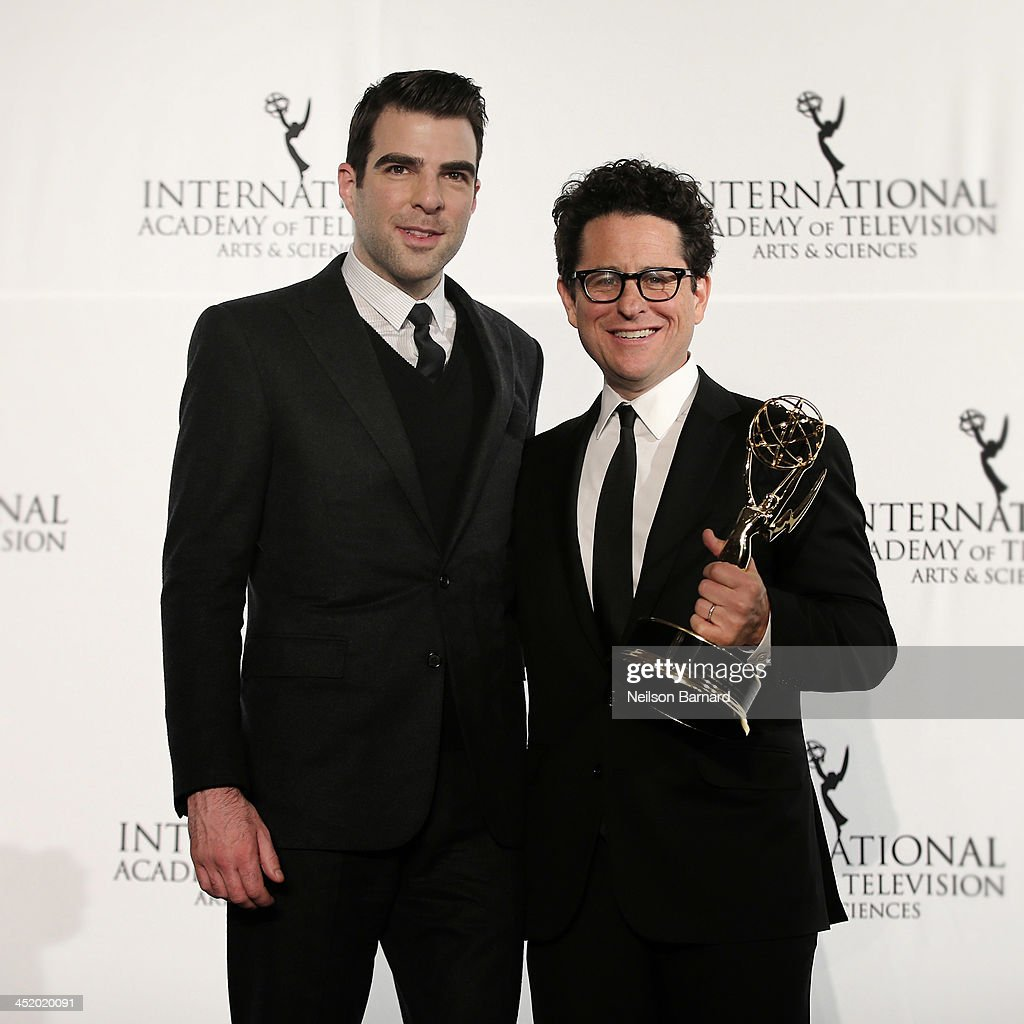Actor Zachary Quinto and producer J.J. Abrams attend the 41st International Emmy Awards at the Hilton New York on November 25, 2013 in New York City.