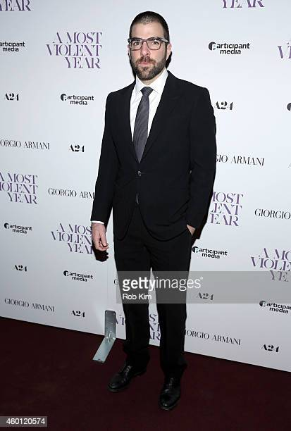 Actor Zachary Quinto attends Giorgio Armani Presents The New York Premiere Of A24's 'A Most Violent Year' at Florence Gould Hall Theater on December...