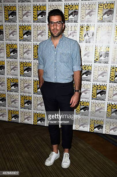 Actor Zachary Quinto attends the 20th Century Fox press line during ComicCon International 2014 at Hilton Bayfront on July 25 2014 in San Diego...
