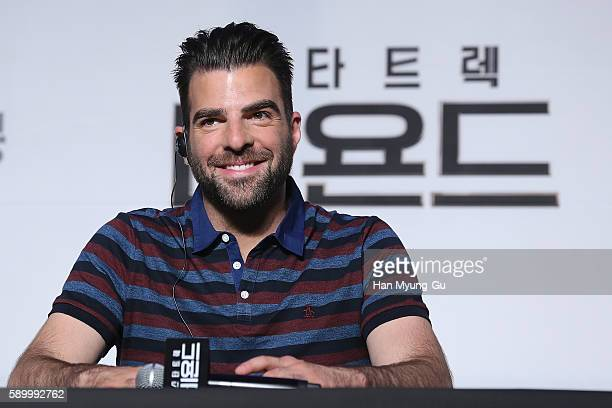 Actor Zachary Quinto attends the Press Conference and Photocall in advance of the Fan Screening of the Paramount Pictures title Star Trek Beyond on...