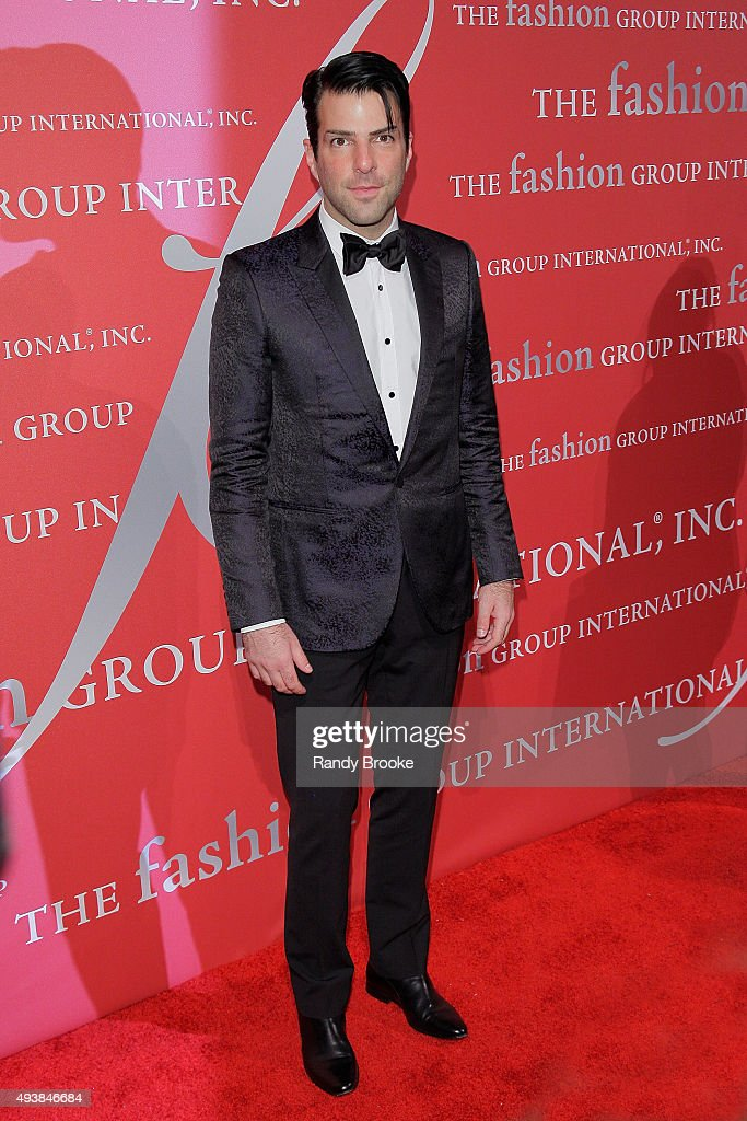 Actor Zachary Quinto on the red carpet during the 2015 Fashion Group International Night Of Stars Gala at Cipriani Wall Street on October 22, 2015 in New York City.