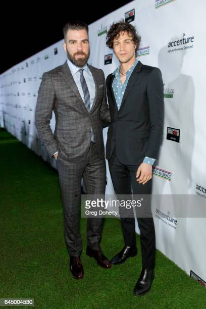 Actor Zachary Quinto partner Miles McMillan attends the 12th Annual Oscar Wilde Awards at Bad Robot on February 23 2017 in Santa Monica California