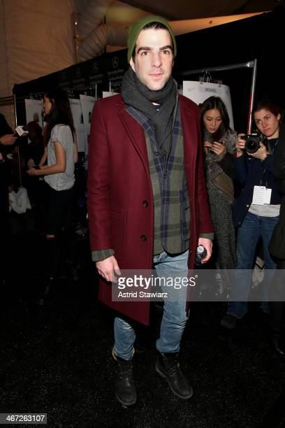 Actor Zachary Quinto poses backstage at Richard Chai during MercedesBenz Fashion Week Fall 2014 at The Salon at Lincoln Center on February 6 2014 in...