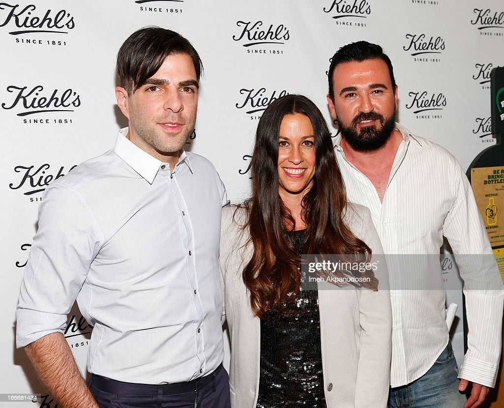 Actor Zachary Quinto, singer/songwriter Alanis Morissette, and Kiehl's USA President Chris Salgardo attend Kiehl's launch of an Environmental Partnership Benefiting Recycle Across America at Kiehl's Since 1851 Santa Monica Store on April 17, 2013 in Santa Monica, California.