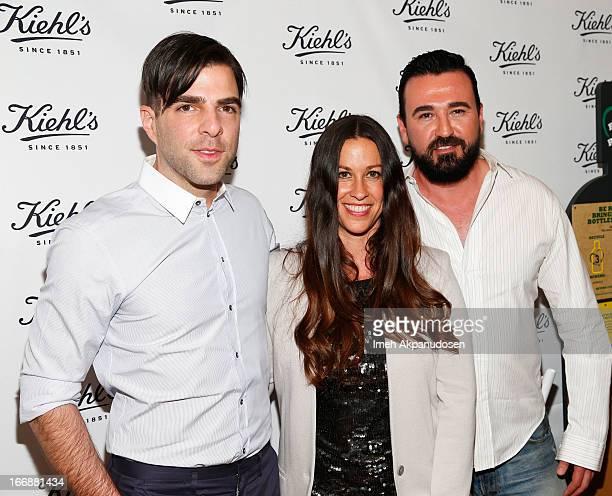 Actor Zachary Quinto singer/songwriter Alanis Morissette and Kiehl's USA President Chris Salgardo attend Kiehl's launch of an Environmental...