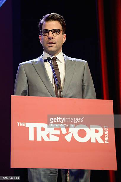 Actor Zachary Quinto speaks onstage at the Trevor Project's 2014 'TrevorLIVE NY' Event at the Marriott Marquis Hotel on June 16 2014 in New York City