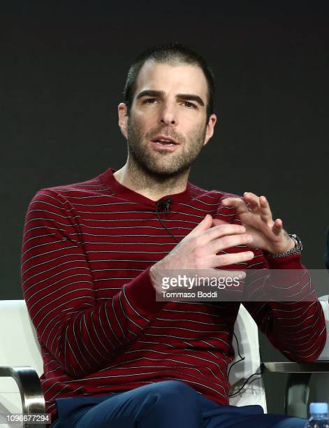 Actor Zachary Quinto speaks onstage during the NOS4A2 panel of the AMC portion of the 2019 Winter TCA on February 9 2019 in Pasadena California